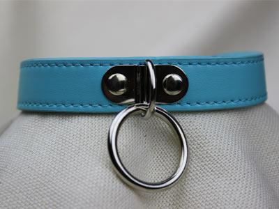 Ошейник с кольцом голубой