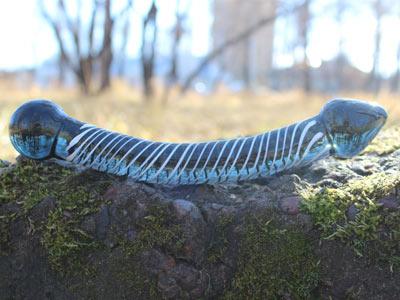 Дилдо стеклянный выгнутый 210 мм синий