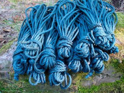 """Веревка джутовая """"Asanawa Tossa Color"""" синяя"""